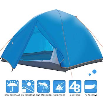 Jpfs 3 4 person double layer waterproof camping family tent