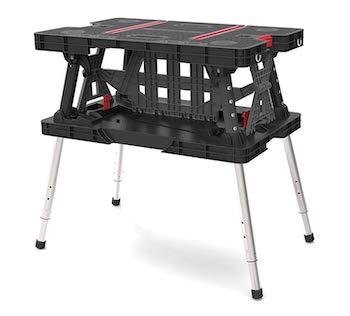 Keter folding compact adjustable workbench sawhorse