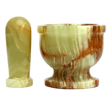Multi green onyx mortar & pestle