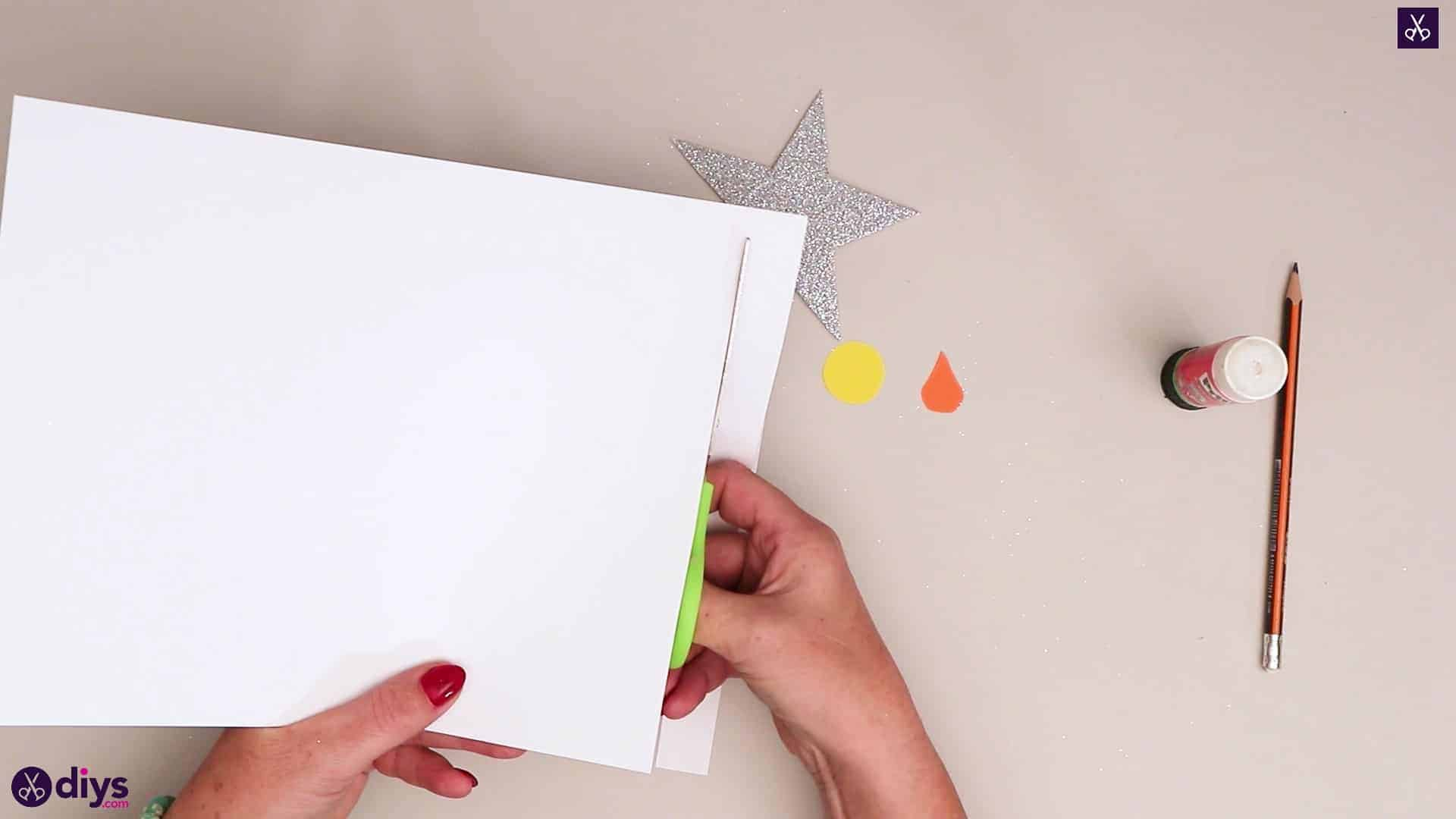 Paper candle on a star white paper
