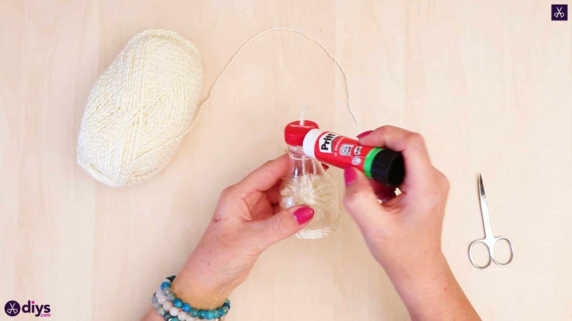 Plastic bottle pom pom ornament adhesive