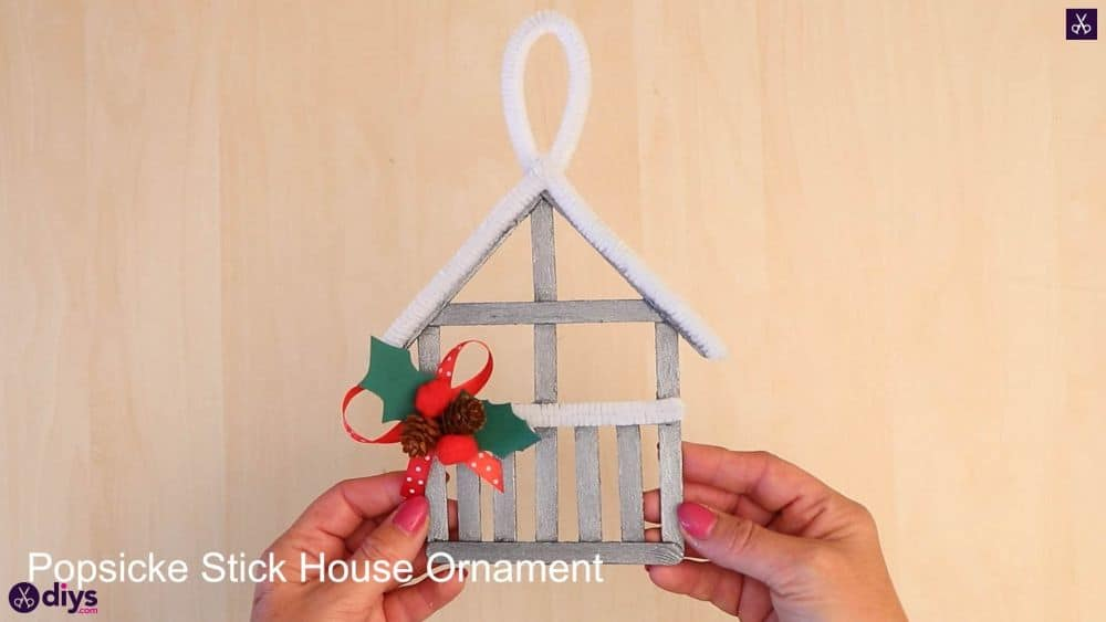 Popsicle stick house ornament