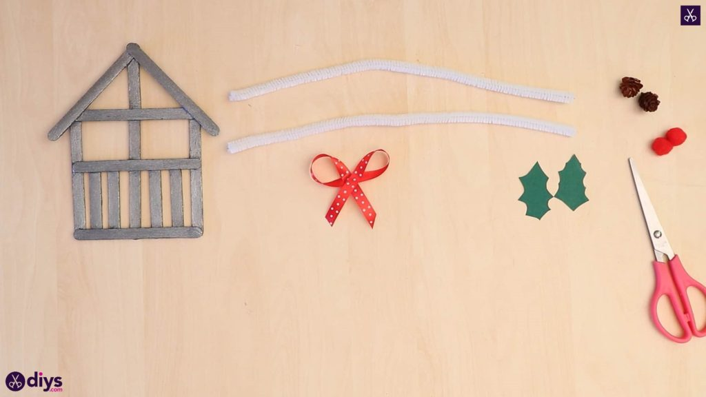 Popsicle stick house ornament bow