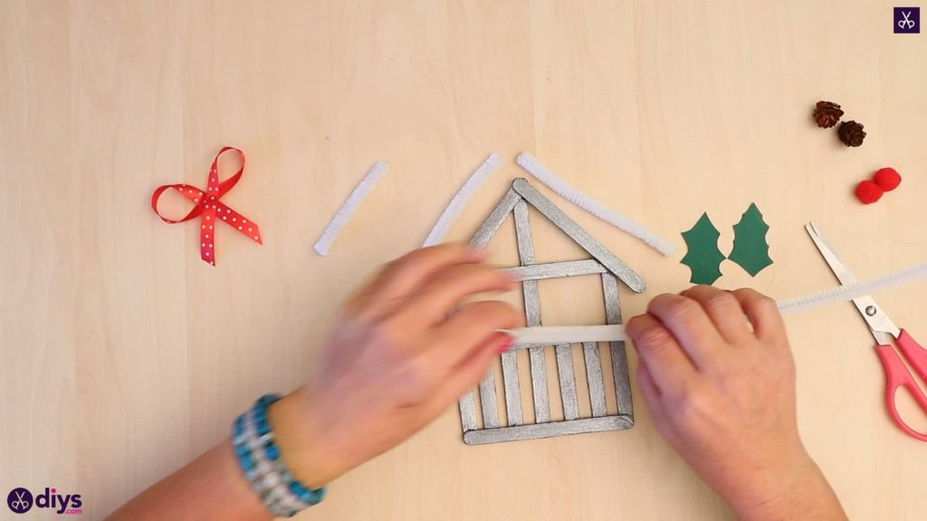Popsicle stick house ornament bow attach