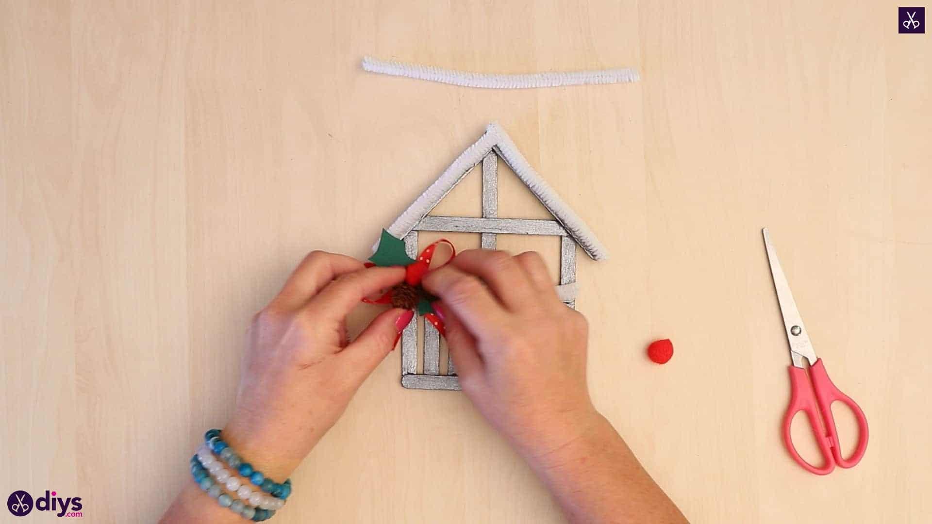 Popsicle stick house ornament corner