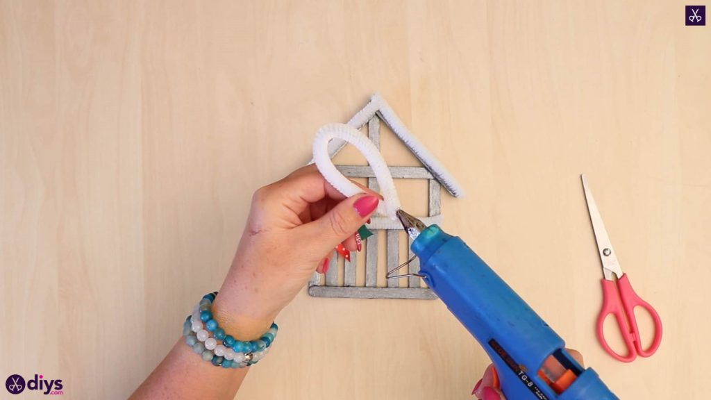 Popsicle stick house ornament diy easy