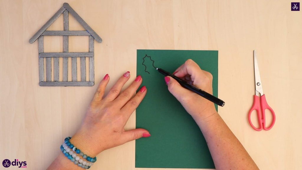 Popsicle stick house ornament draw