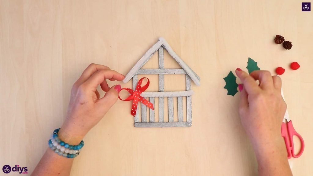 Popsicle stick house ornament glue add accessories