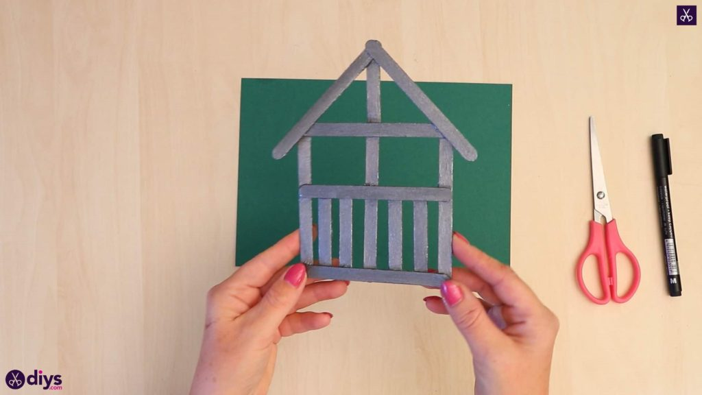 Popsicle stick house ornament house diy