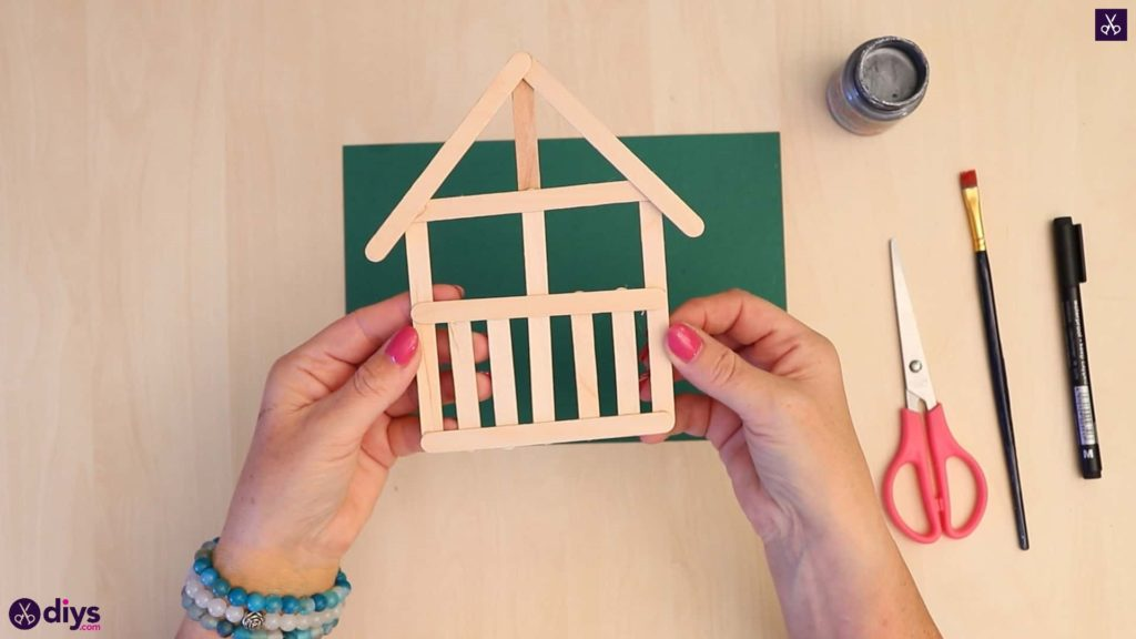 Popsicle stick house ornament house like