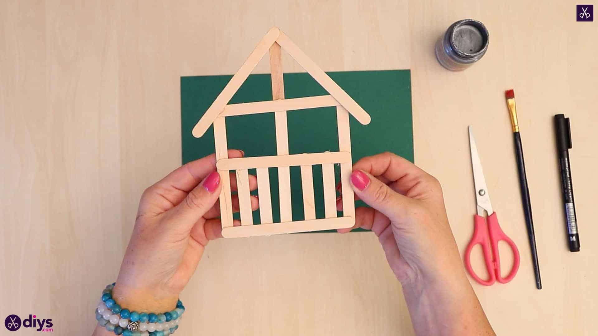 Popsicle stick house ornament house like