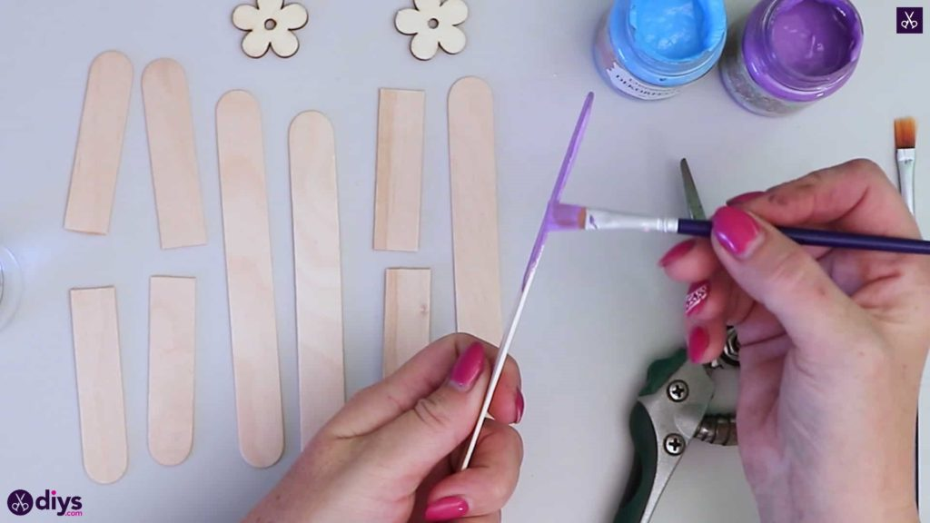 Popsicle stick napkin holder paint procerss