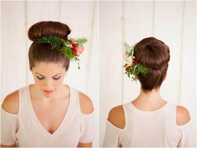 Rounded high bun with flowers