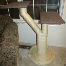 Simple two platform sisal rope cat tree