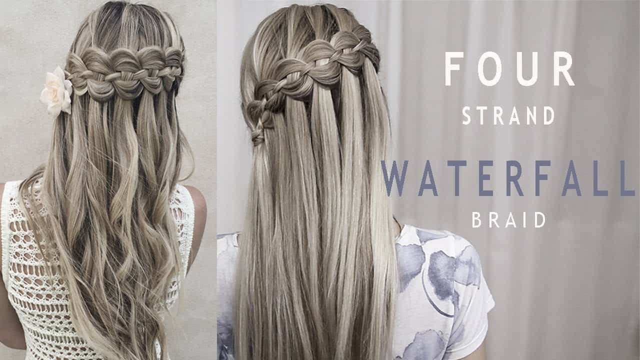 Stunning four strand waterfall braid