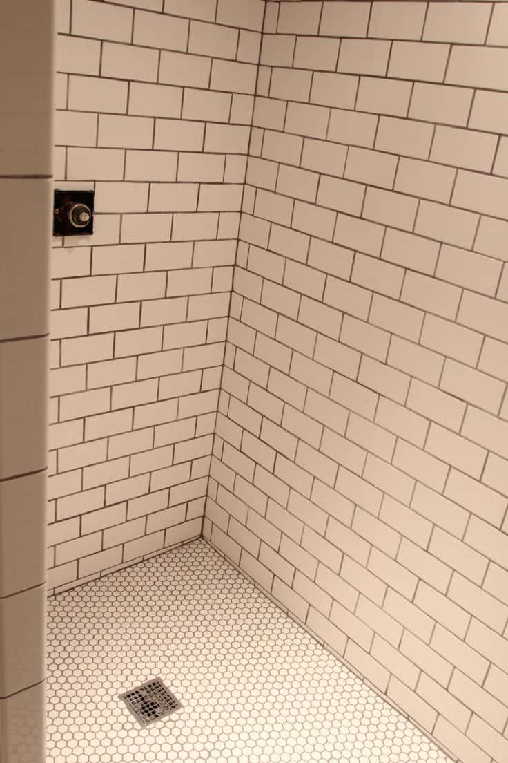 Subway tile basement shower makeover