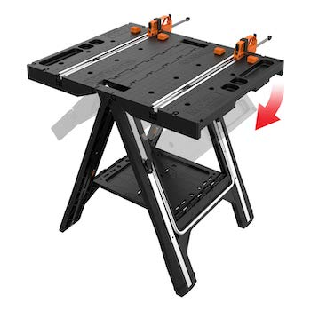 Worx pegasus multi function work table and sawhorse with quick clamps and holding pegs