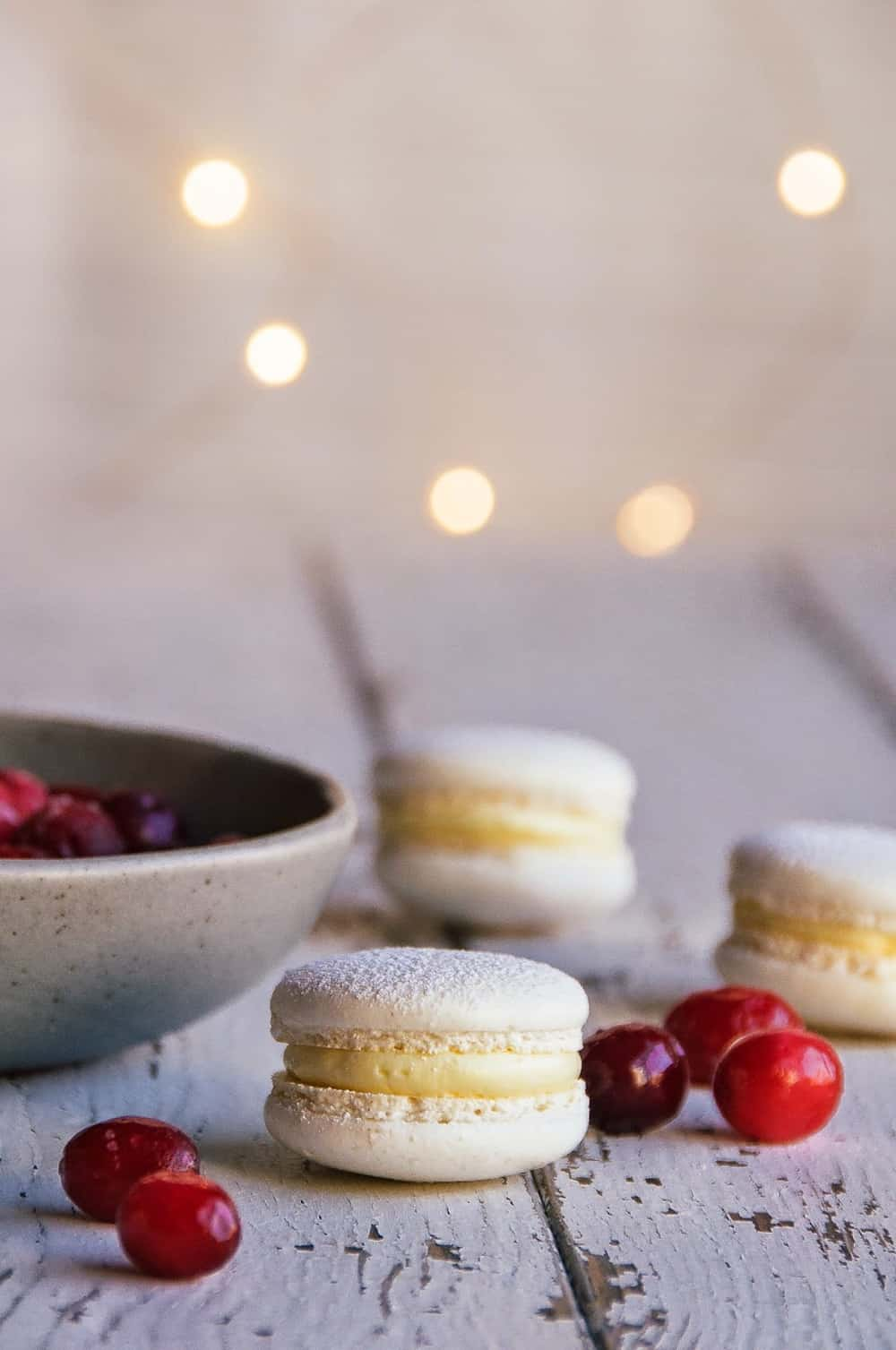 Cranberry white chocolate macarons