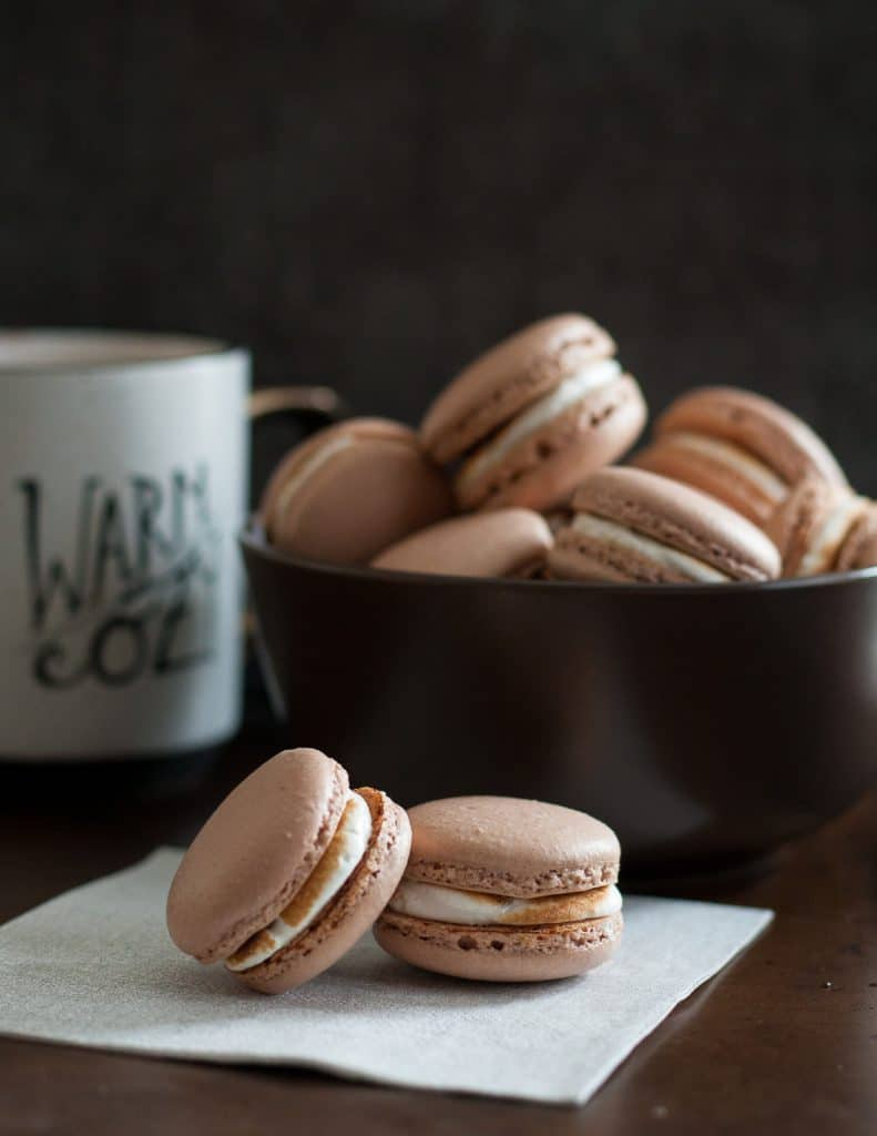 Hot chocolate macarons