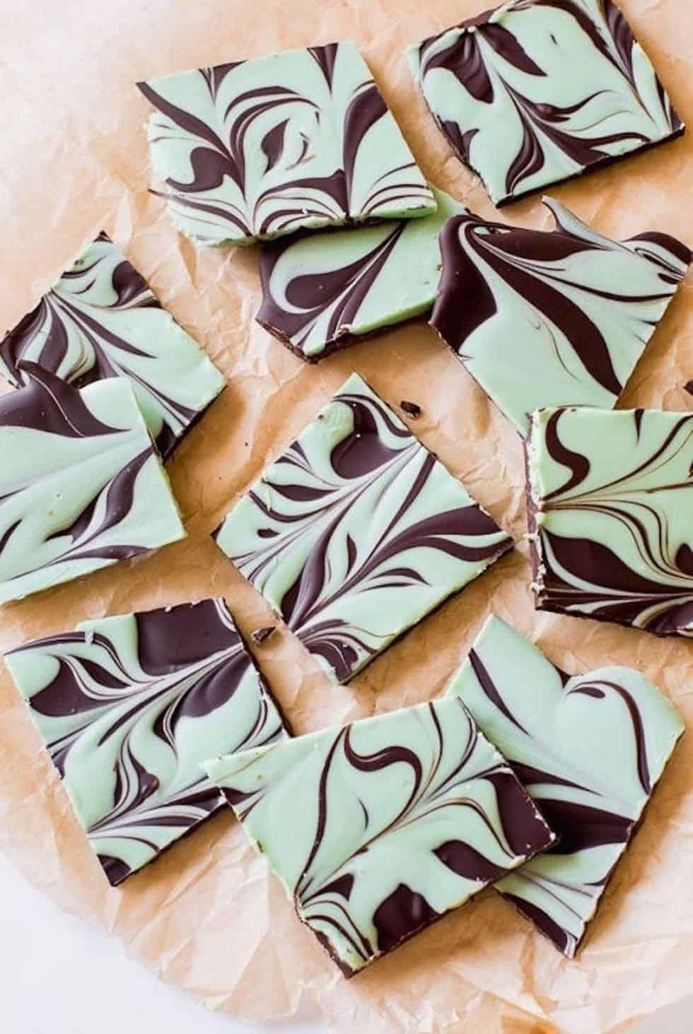 Mint chocolate swirl bark
