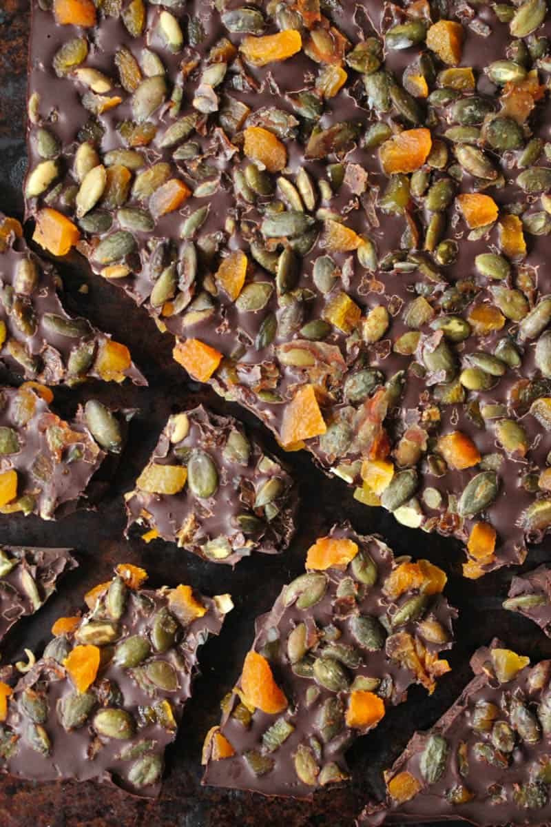 Vegan dark chocolate bark with apricots candied pepitas