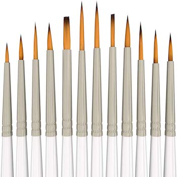 12 miniature brushes for fine detailing & art painting by myartscape