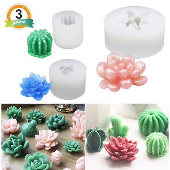 3 pack miniature succulent resin molds