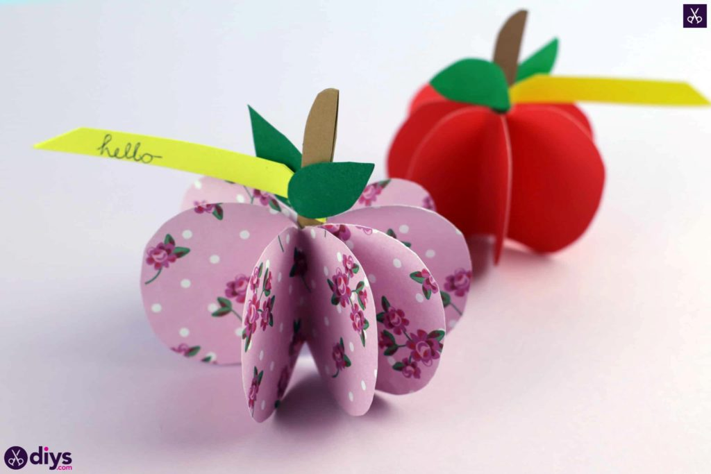 3d paper apple for kids
