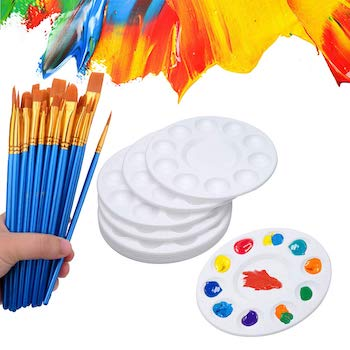50 pcs paint brushes with 12 pcs paint pallet trays