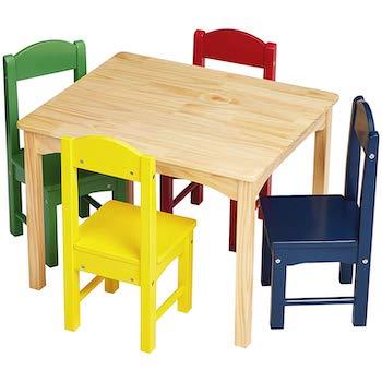 Amazonbasics kids wood table and 4 chair set