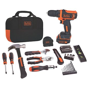 Black+decker 12v max drill & home tool kit