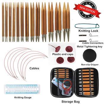 Bamboo circular knitting needles set with yarn needles