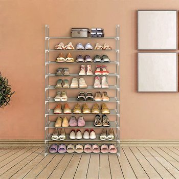 Blissun space saving, non woven fabric shoe rack tower