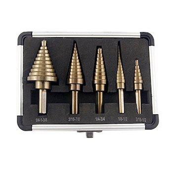 Co z 5pieces hss cobalt multiple hole 50 sizes step drill bit set