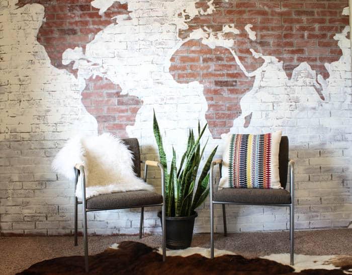 Diy faux brick wall map