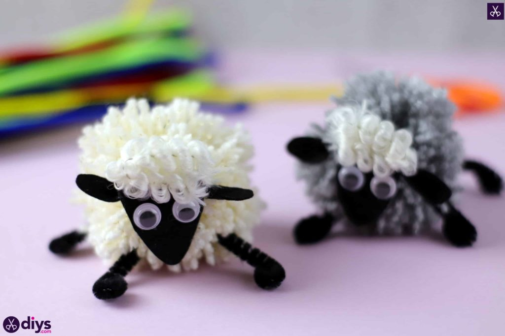 Diy funny pom pom sheep for kids