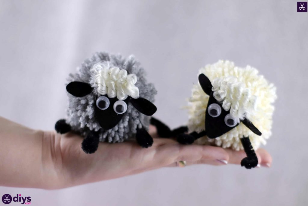 Diy funny pom pom sheep for kids and school