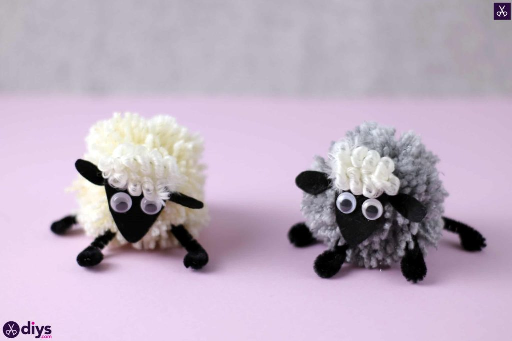 Diy funny pom pom sheep for kids craft