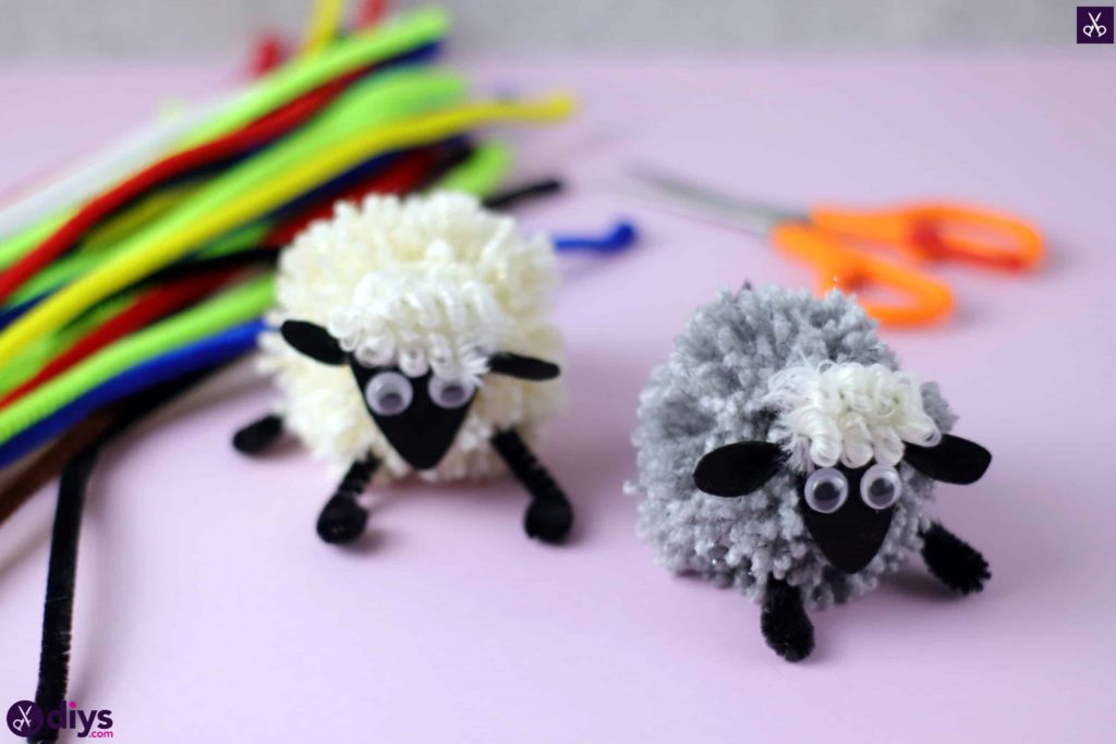 Diy funny pom pom sheep for kids crafting