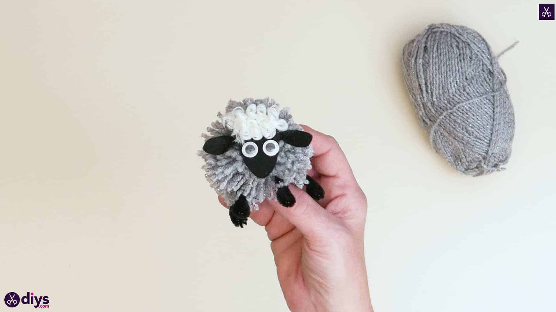 Diy funny pom pom sheep for kids step 6 colorful