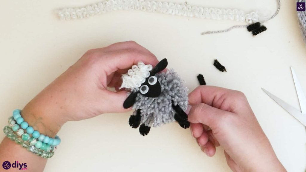 Diy funny pom pom sheep for kids step 68a