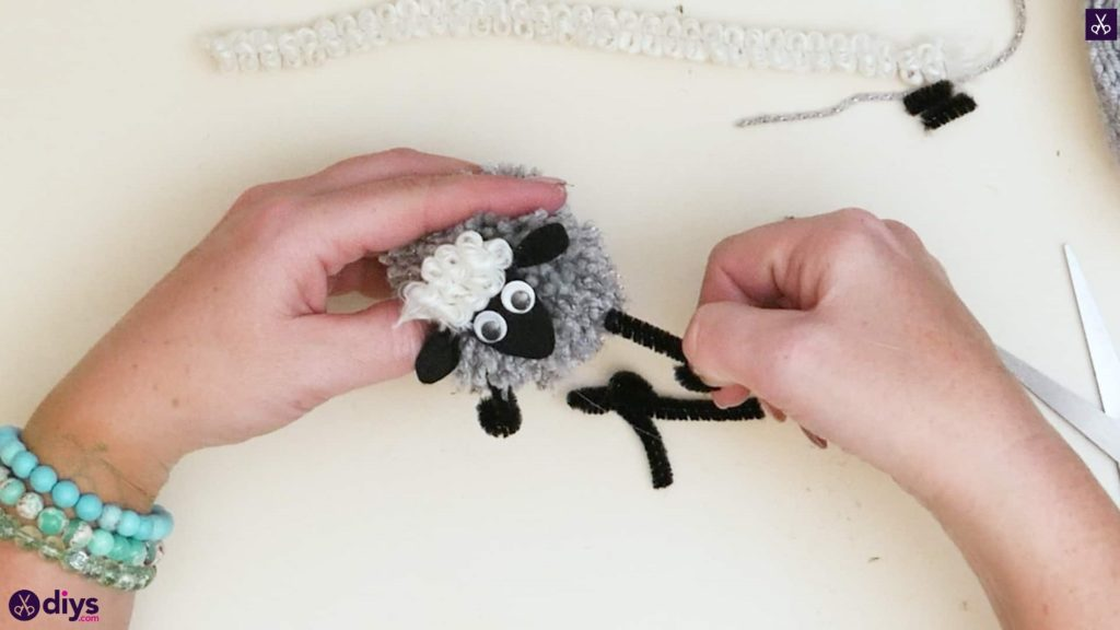 Diy funny pom pom sheep for kids step 8
