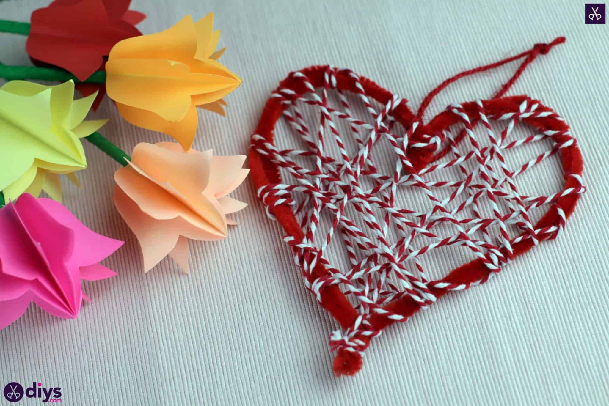 Diy hanging heart wall decor red