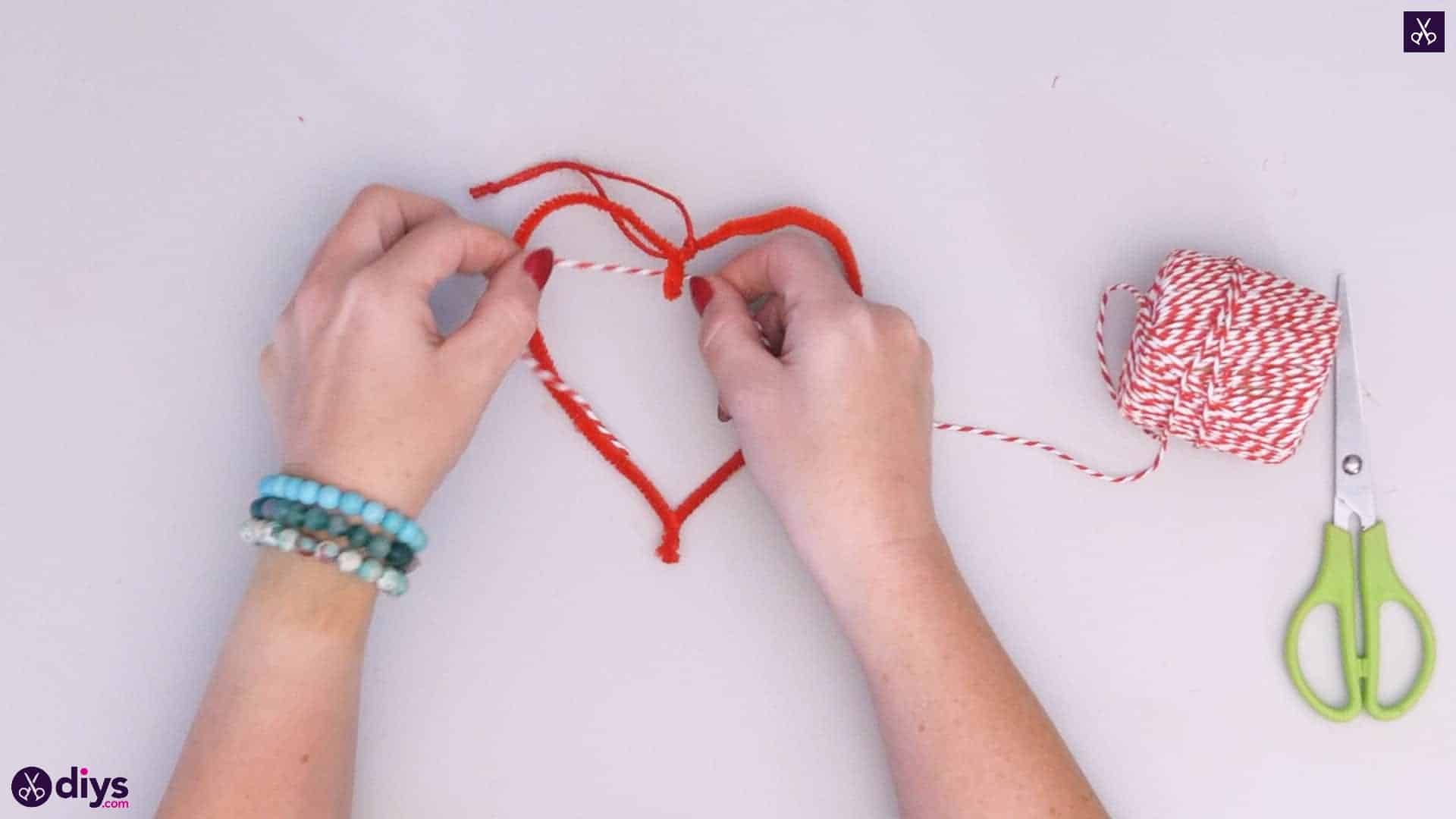 Diy hanging heart wall decor step 4