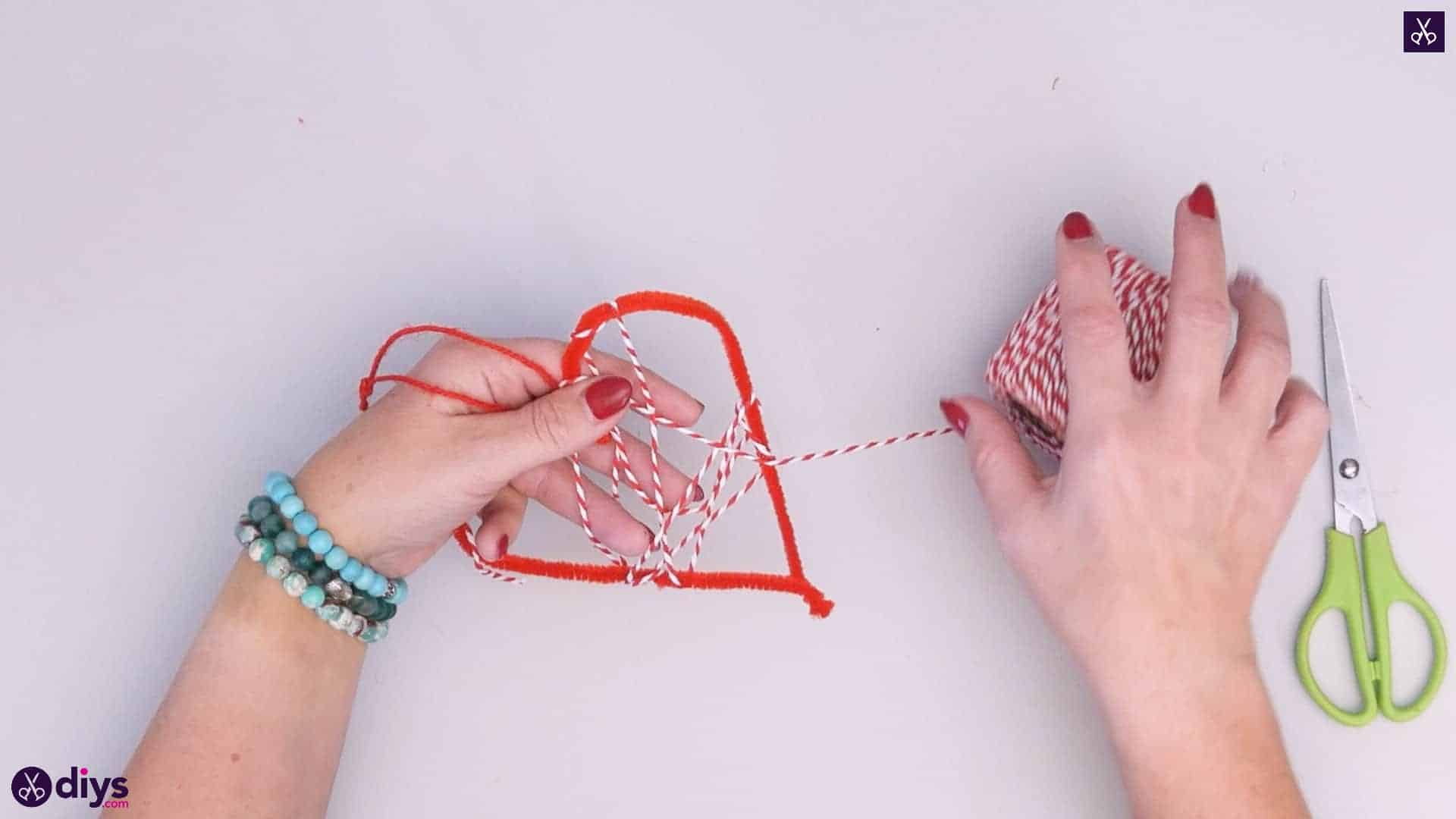 Diy hanging heart wall decor step 4d