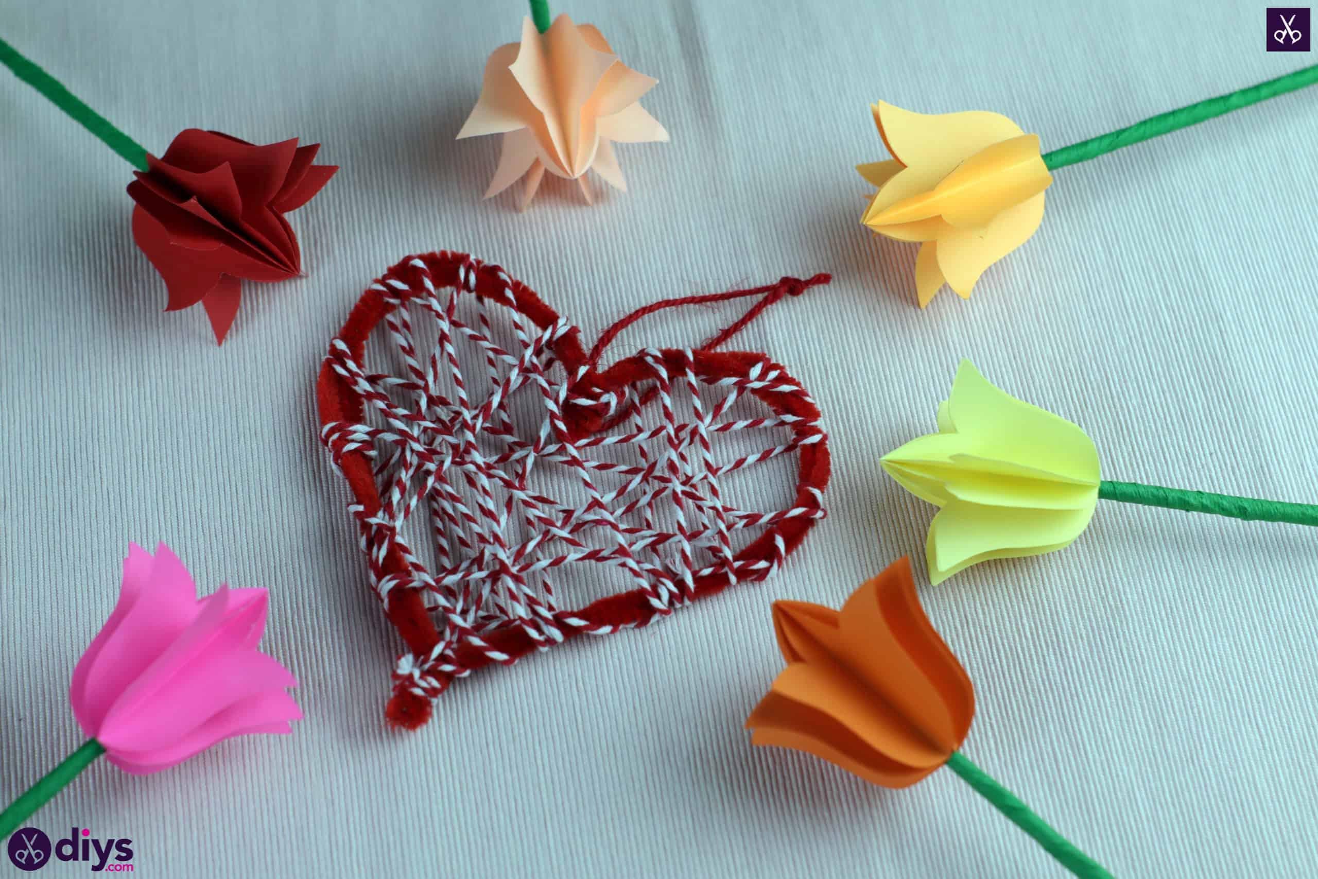 Diy hanging heart wall decor yarn