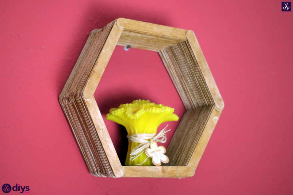 Diy popsicle stick hexagon shelf project
