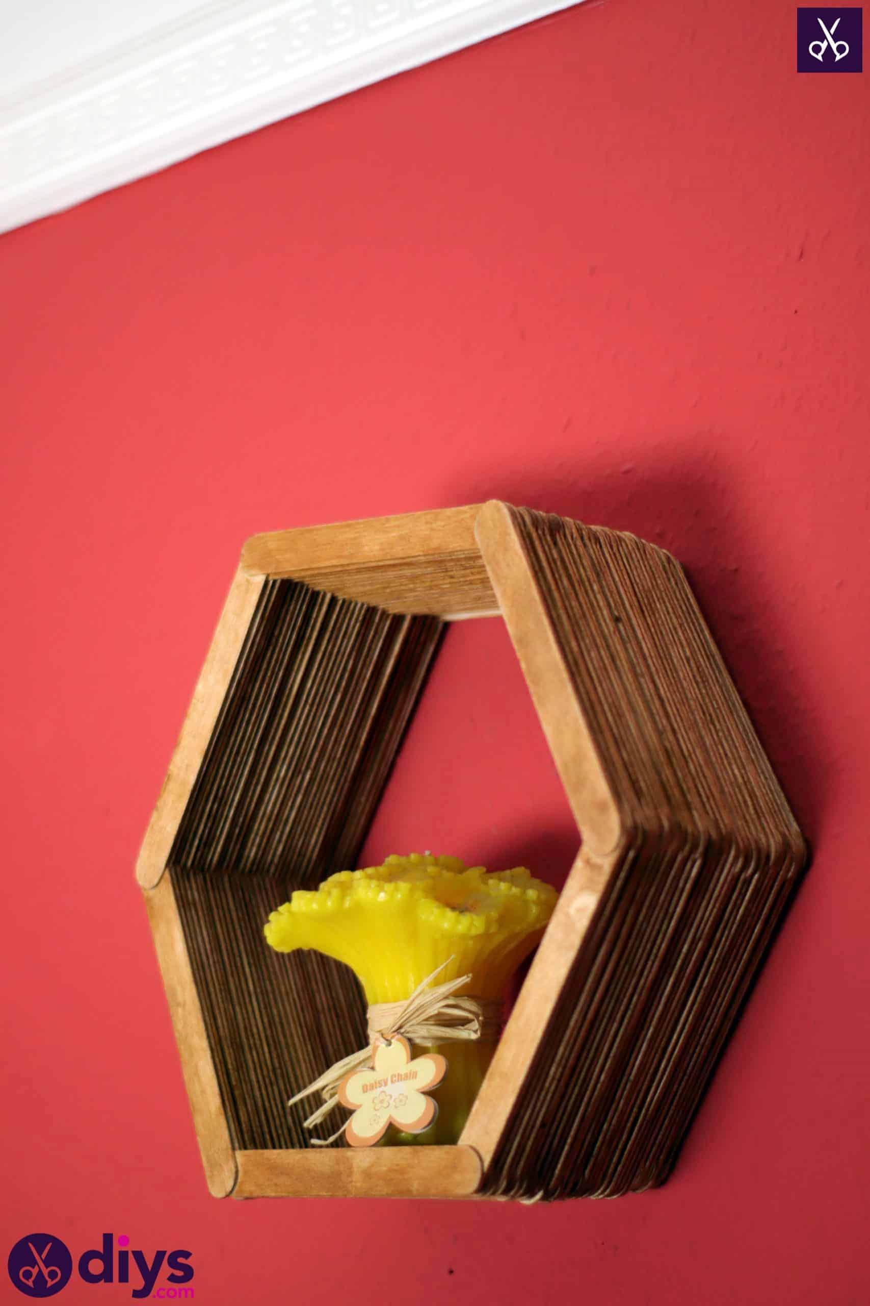 Diy popsicle stick hexagon shelf hang