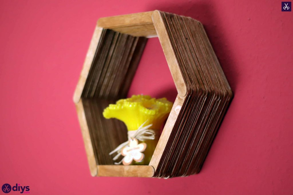Diy popsicle stick hexagon shelf sdisplay