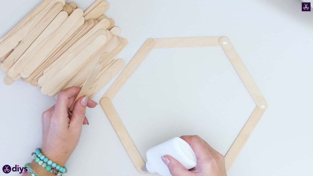 Diy popsicle stick hexagon shelf step 2